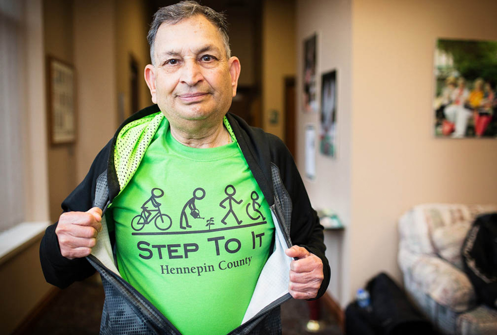 Man with step to it t-shirt