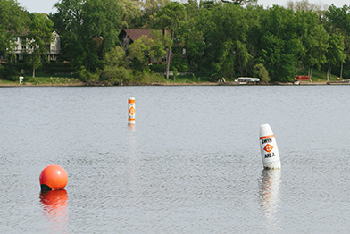 Buoys in water